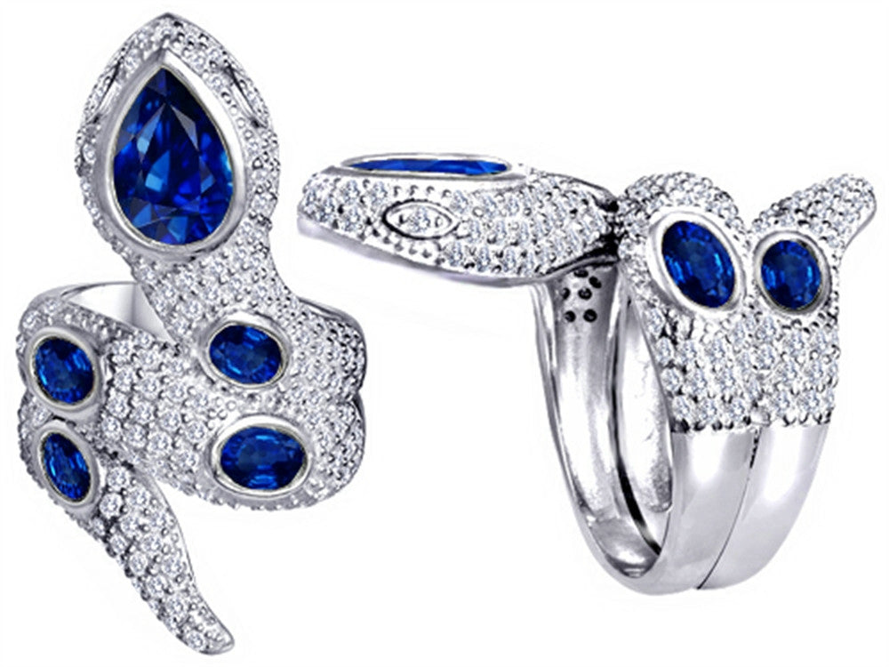 Star K Good Luck Snake Ring with Created Sapphire Stones Sterling Silver Size 8
