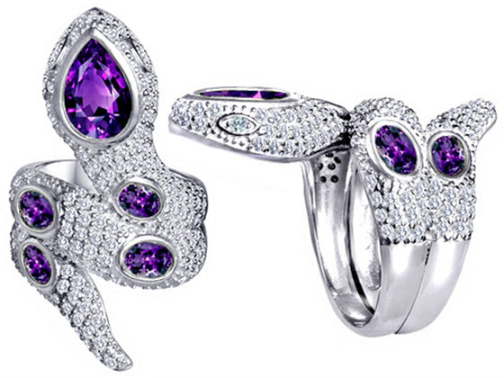 Star K Good Luck Snake Ring with Simulated Amethyst Stones Sterling Silver Size 8