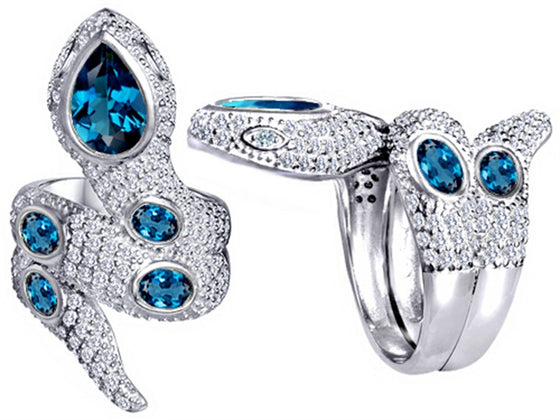 Star K Good Luck Snake Ring with Simulated Blue-Topaz Stones Sterling Silver Size 8