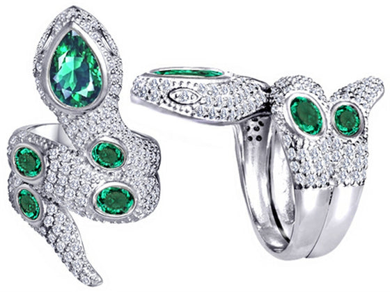 Star K Good Luck Snake Ring with Simulated Emerald Stones Sterling Silver Size 8