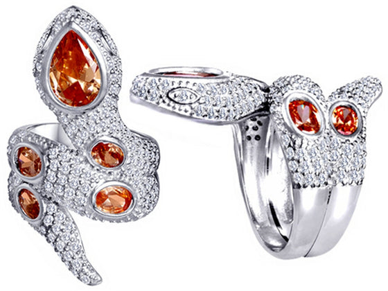 Star K Good Luck Snake Ring with Simulated Orange Mexican Fire Opal Stones Sterling Silver Size 8