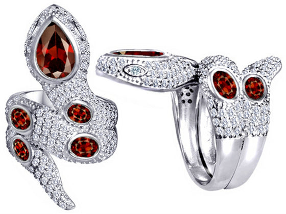 Star K Good Luck Snake Ring with Simulated Garnet Stones Sterling Silver Size 8