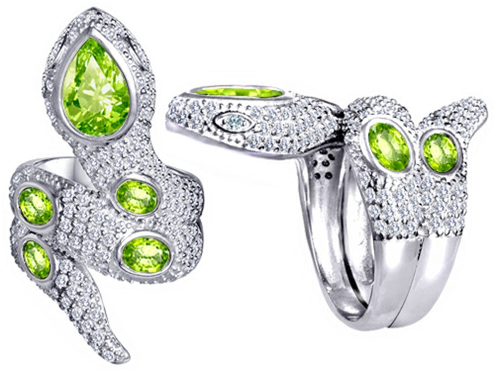 Star K Good Luck Snake Ring with Simulated Apple Green Amethyst Stones Sterling Silver Size 9