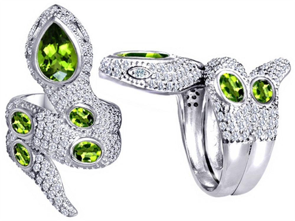 Star K Good Luck Snake Ring with Simulated Peridot Stones Sterling Silver Size 8