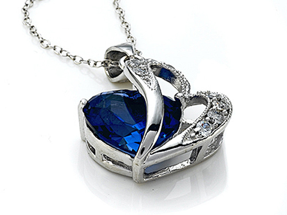 Star K 12mm Simulated Blue Sapphire Heart Pendant Necklace with Sterling Silver Chain