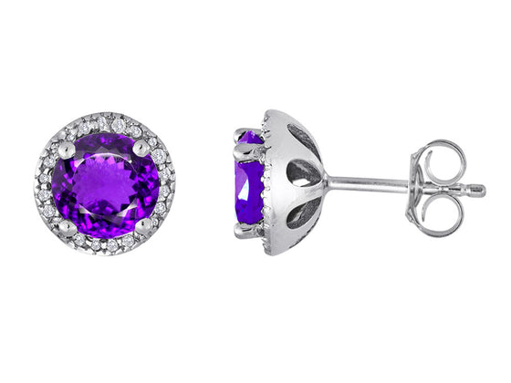 Star K Round 7mm Simulated Amethyst Halo Earring Studs Sterling Silver