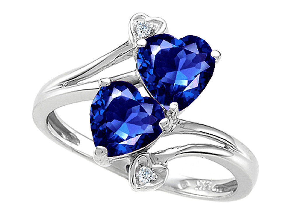 Tommaso Design Heart Shape 6mm Created Sapphire Ring
