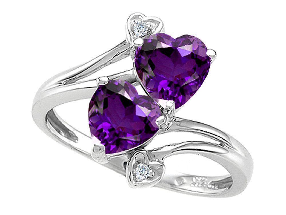 Tommaso Design Heart Shape 6mm Genuine Amethyst Ring