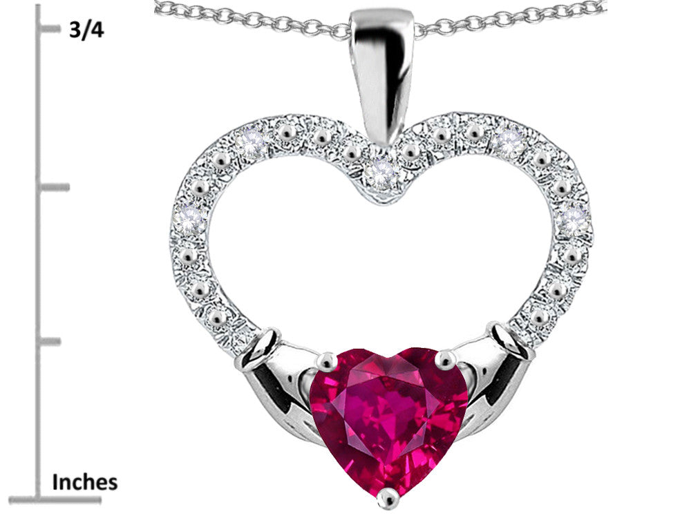 Star K Hands Holding Heart Created Ruby Claddagh Pendant Necklace