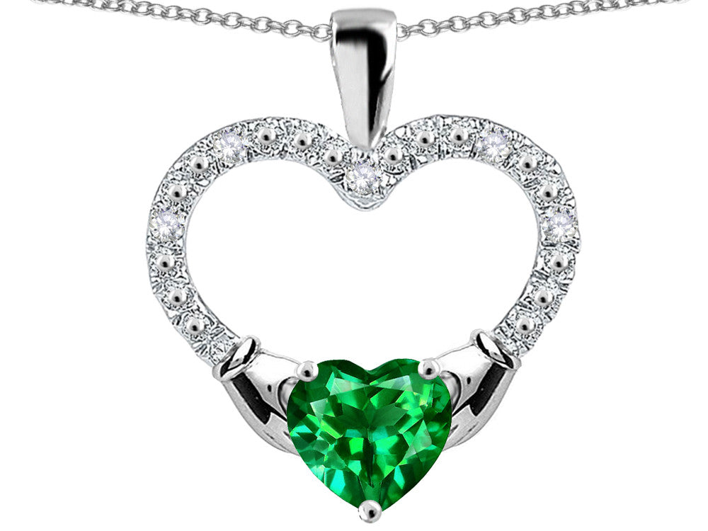 Star K Hands Holding Heart Simulated Emerald Claddagh Pendant Necklace