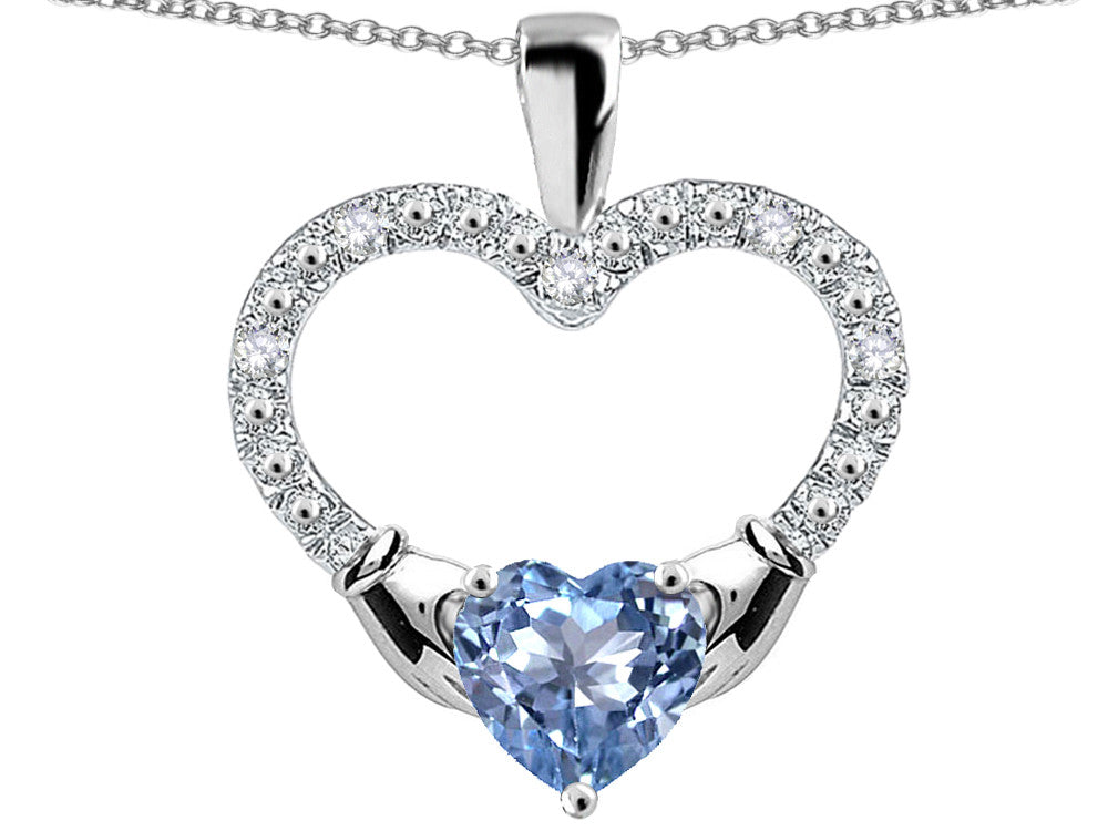 Star K Hands Holding Heart Simulated Aquamarine Claddagh Pendant Necklace