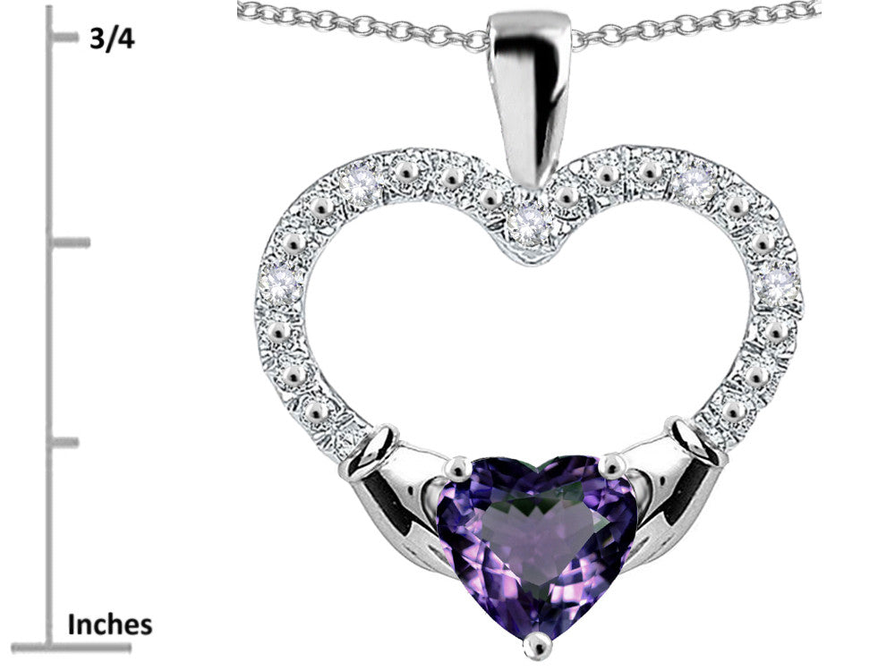 Star K Hands Holding Heart Simulated Alexandrite Claddagh Pendant Necklace