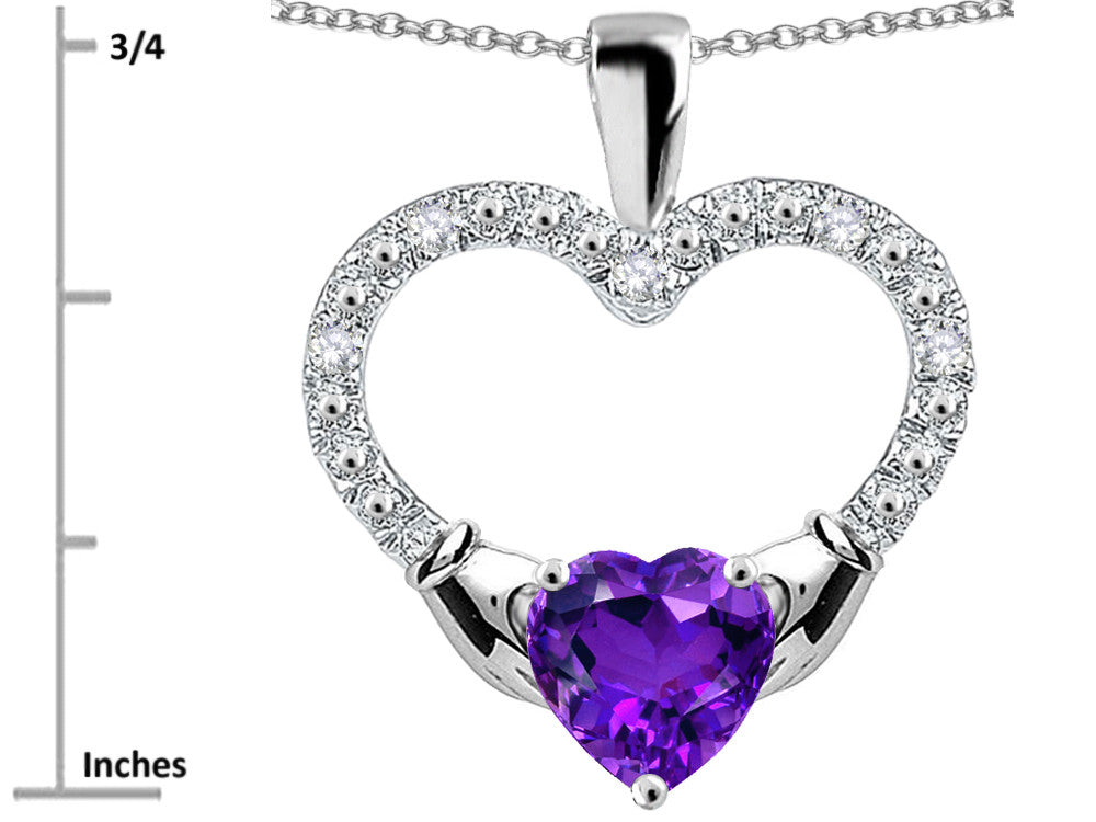 Star K Hands Holding Heart Genuine Amethyst Claddagh Pendant Necklace