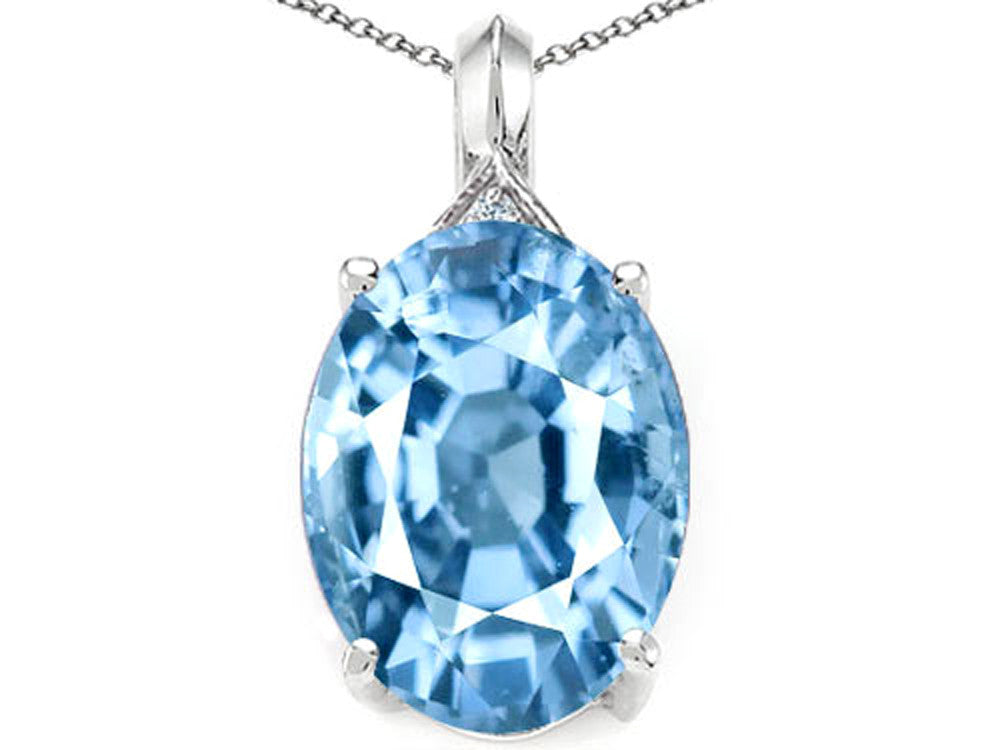 Tommaso Design Oval 12x10mm Simulated Aquamarine Pendant Necklace