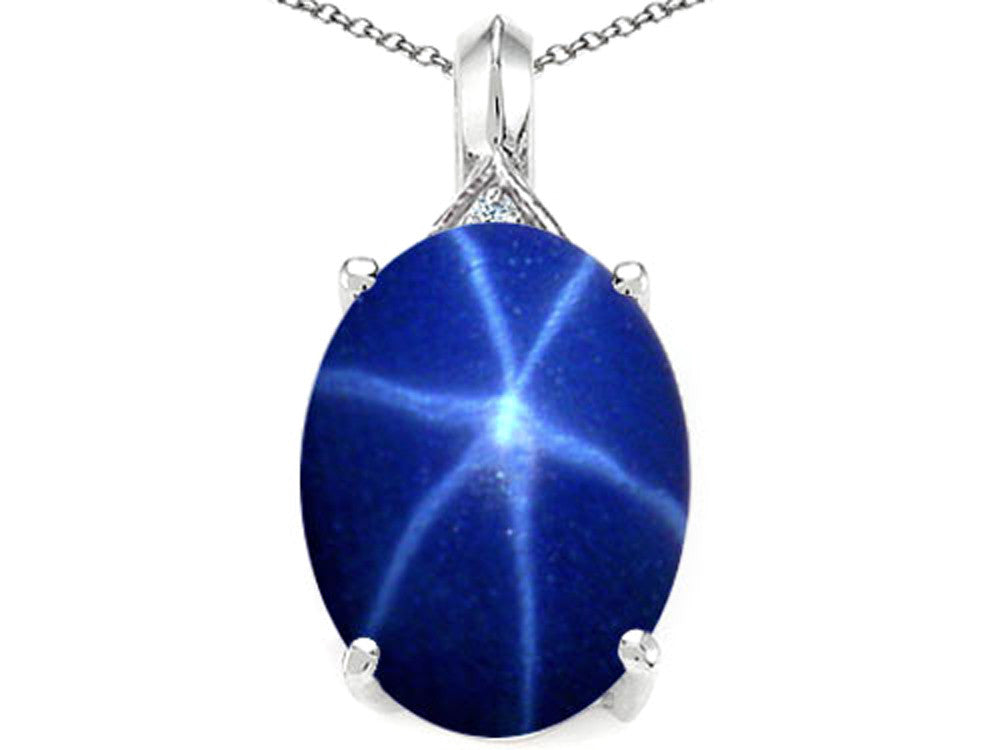 Tommaso Design Oval 12x10mm Created Star Sapphire and Diamond Pendant Necklace