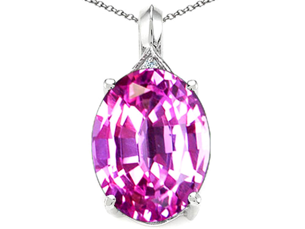 Tommaso Design Oval 12x10mm Created Pink Sapphire Pendant Necklace