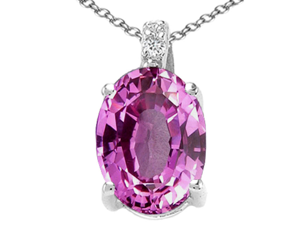 Tommaso Design Oval Created Pink Sapphire Pendant Necklace