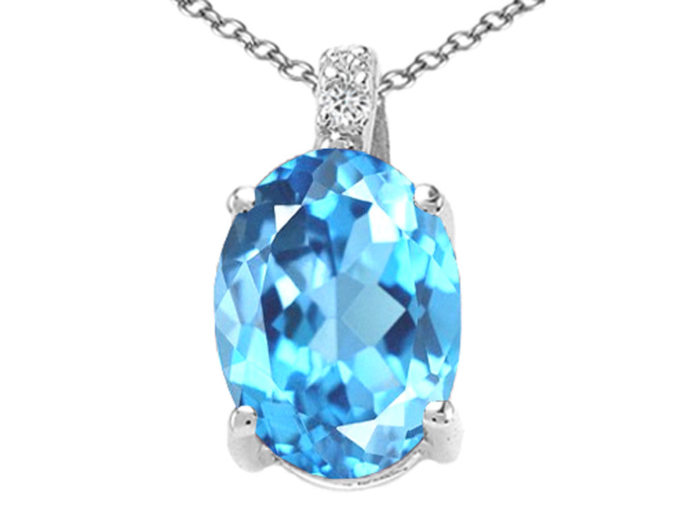 Tommaso Design Oval Simulated Aquamarine Pendant Necklace