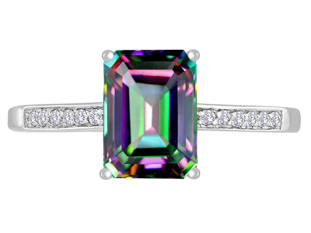 Original Star K 8x6mm Rainbow Mystic Topaz Solitaire Engagement Ring