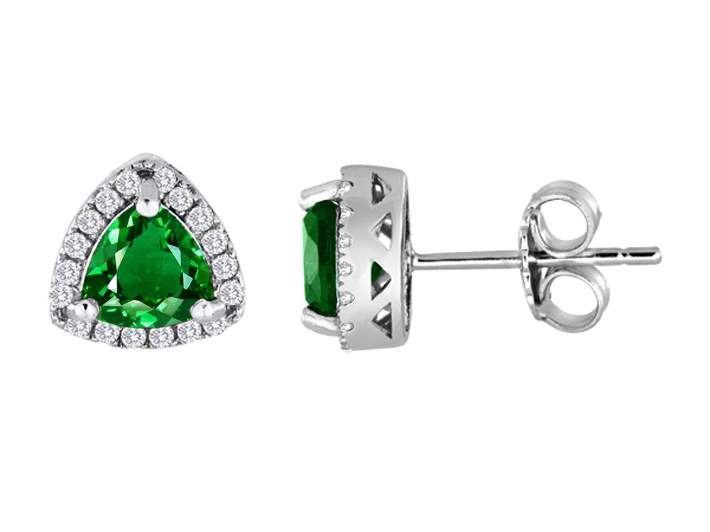 Star K Trillian Simulated Emerald Halo Earring Studs