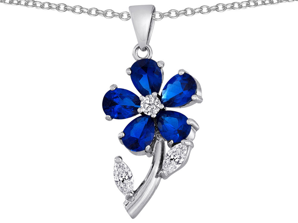 Star K Simulated Sapphire Flower with Leaves Pendant Necklace