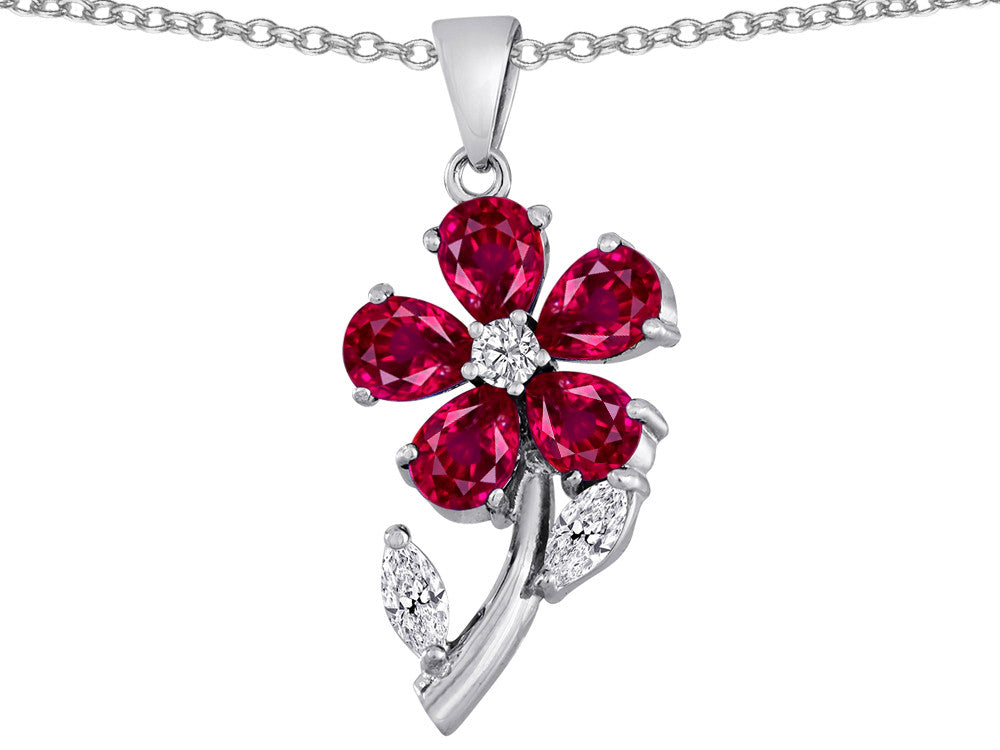 Star K Created Ruby Flower with Leaves Pendant Necklace