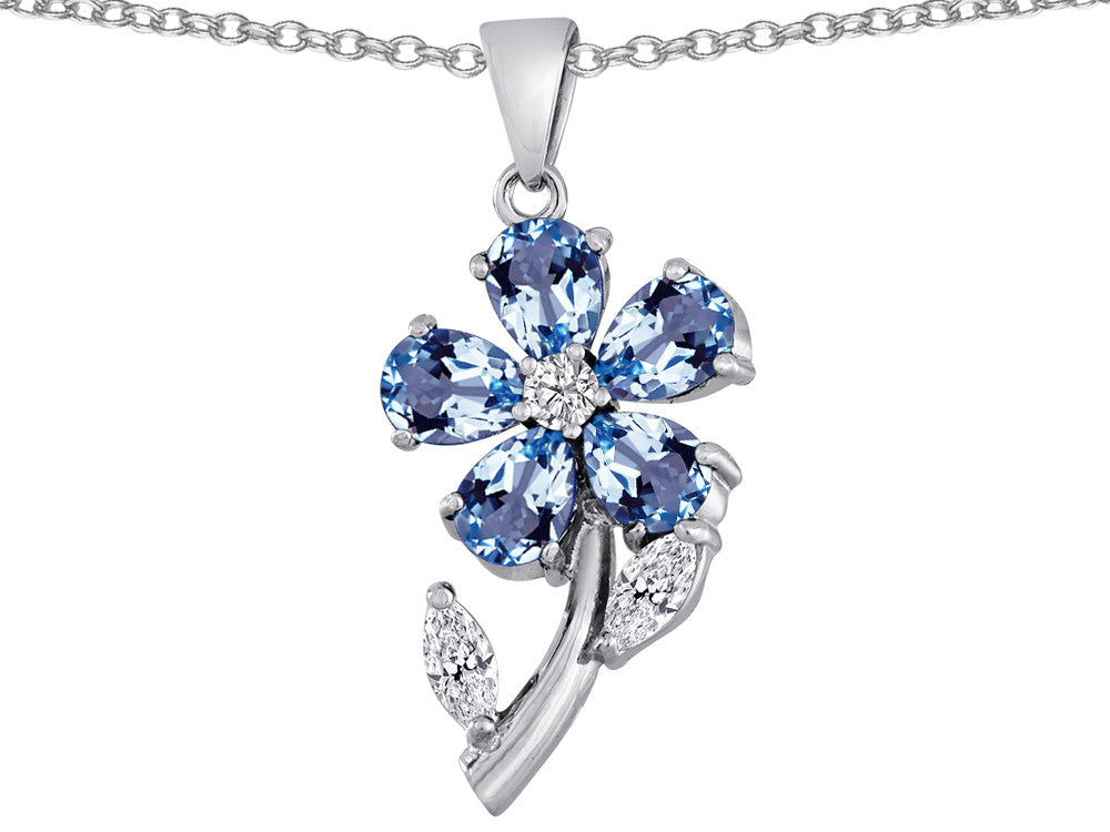 Star K Simulated Aquamarine Flower with Leaves Pendant Necklace