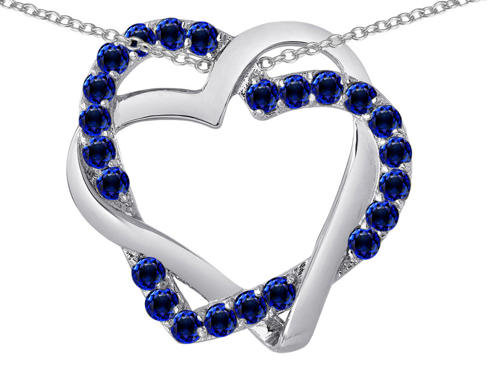 Star K Simulated Sapphire Intertwined Double Heart Love Pendant Necklace