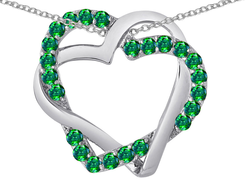 Star K Simulated Emerald Intertwined Double Heart Love Pendant Necklace
