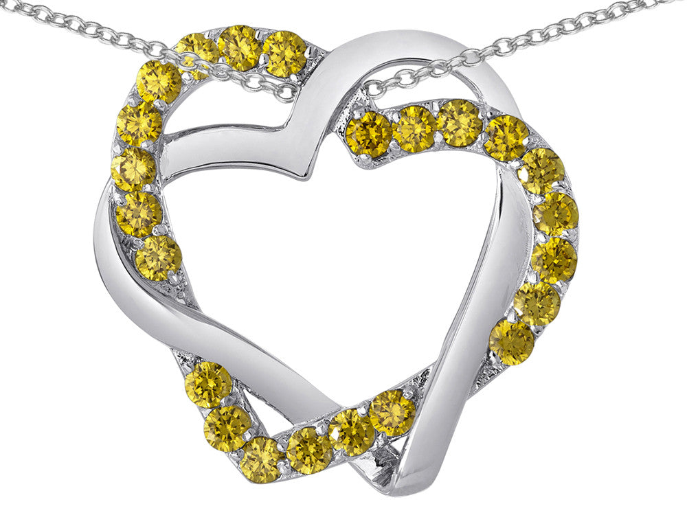 Star K Simulated Citrine Intertwined Double Heart Love Pendant Necklace