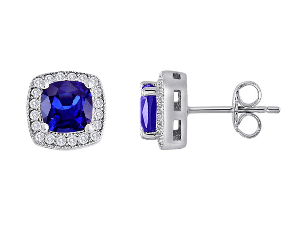 Star K Cushion Cut Created Sapphire Halo Earring Studs