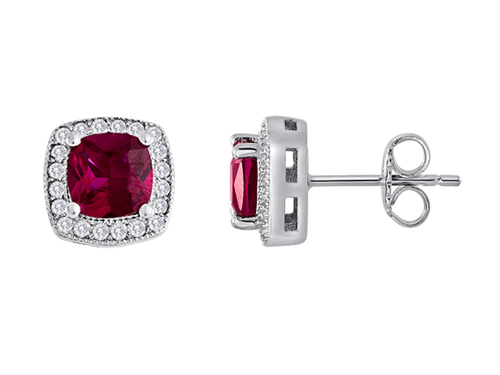 Star K Cushion Cut Created Ruby Halo Earring Studs
