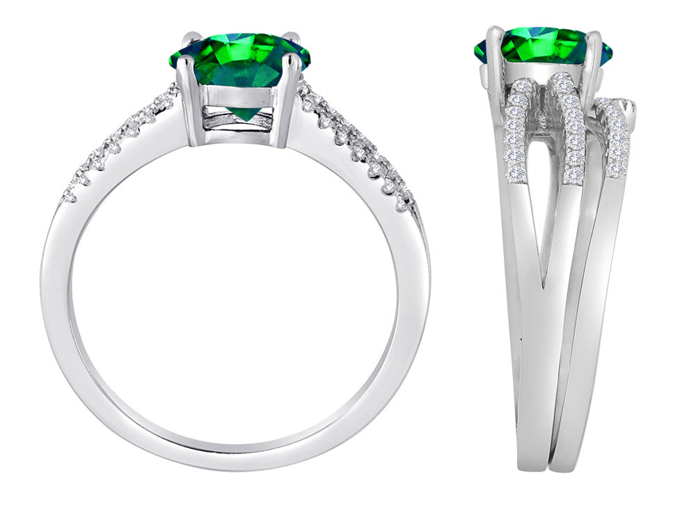 Star K Round 7mm Simulated Emerald Wedding Set