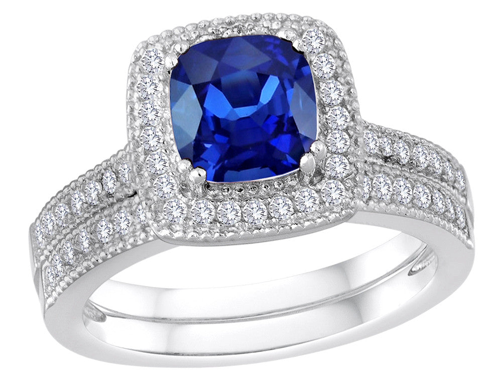 Star K Cushion Cut Created Sapphire Wedding Set