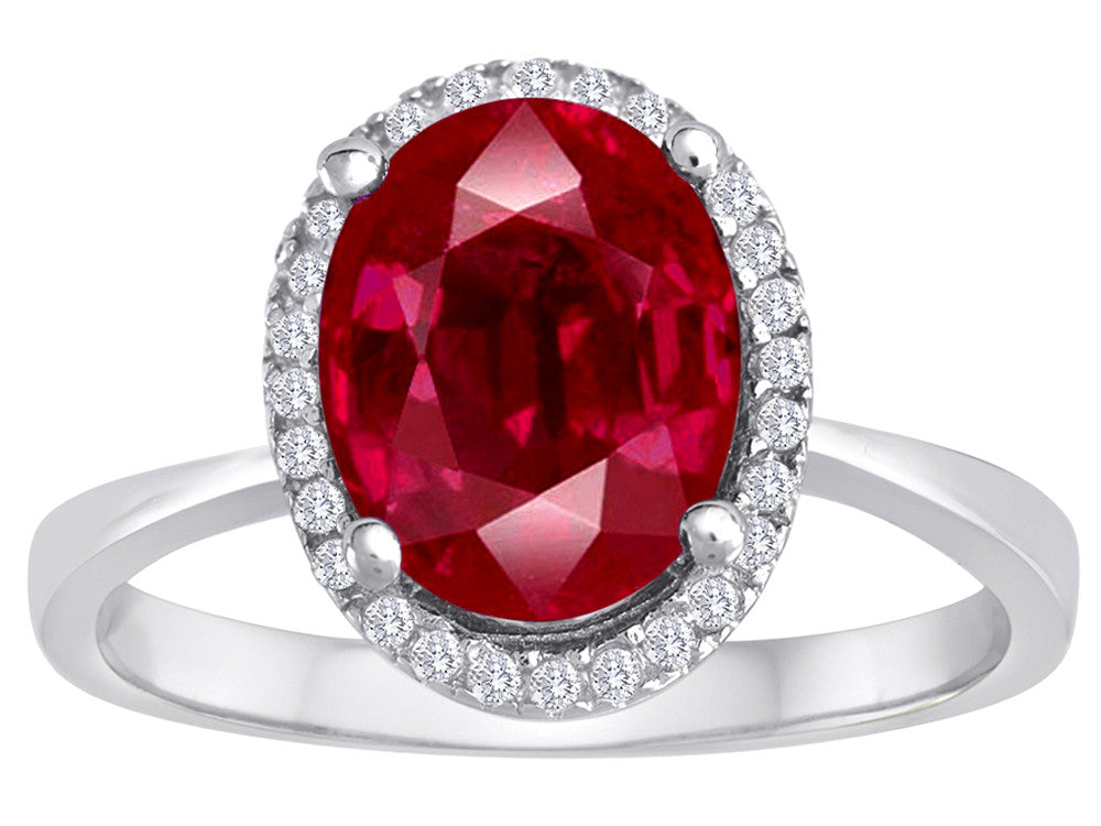 Star K Oval Created Ruby Halo Ring