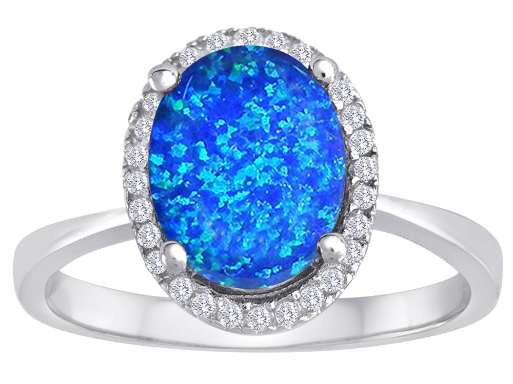 Star K Oval Simulated Blue Opal Halo Ring