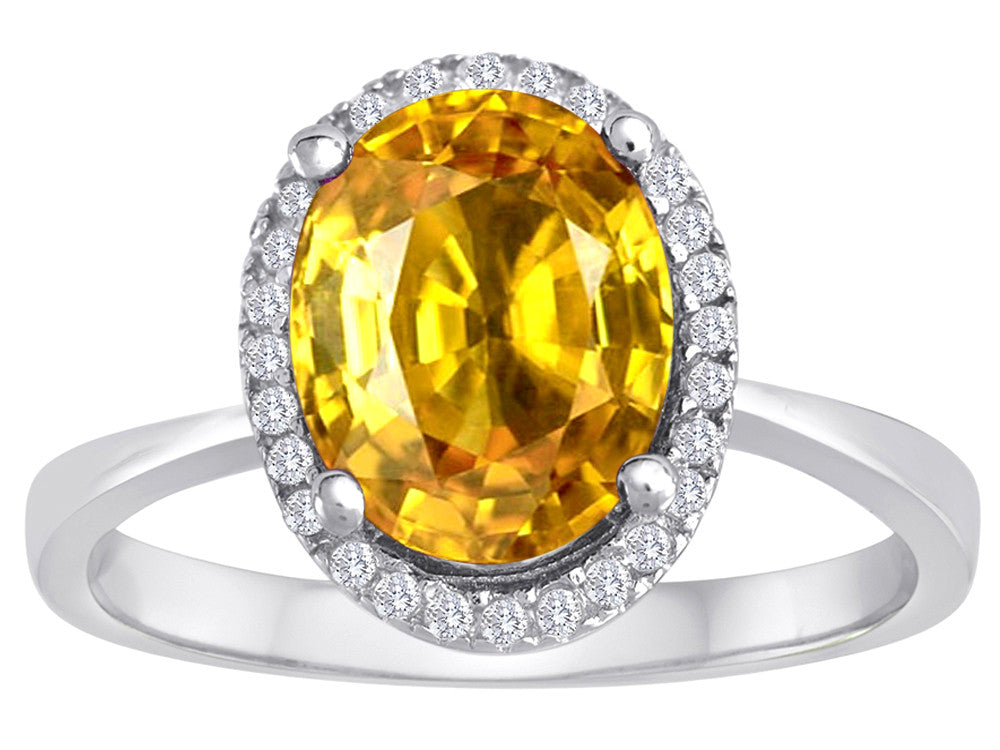 Star K Oval Simulated Citrine Halo Ring