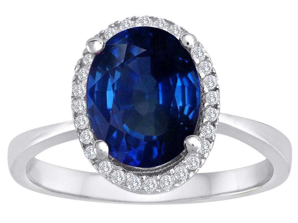 Star K Oval Simulated Sapphire Halo Ring