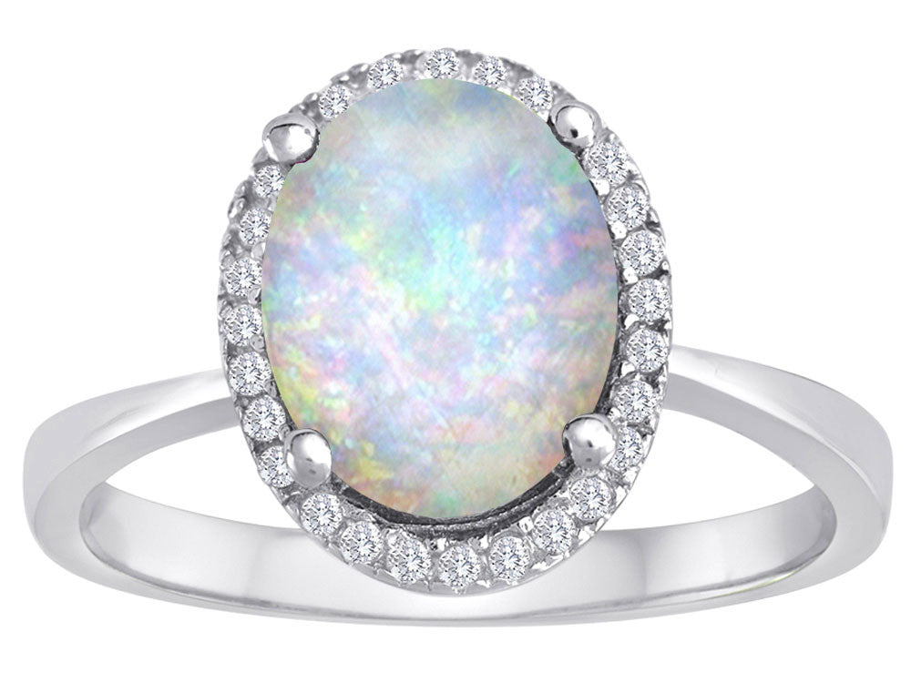 Star K Oval Simulated Opal Halo Ring