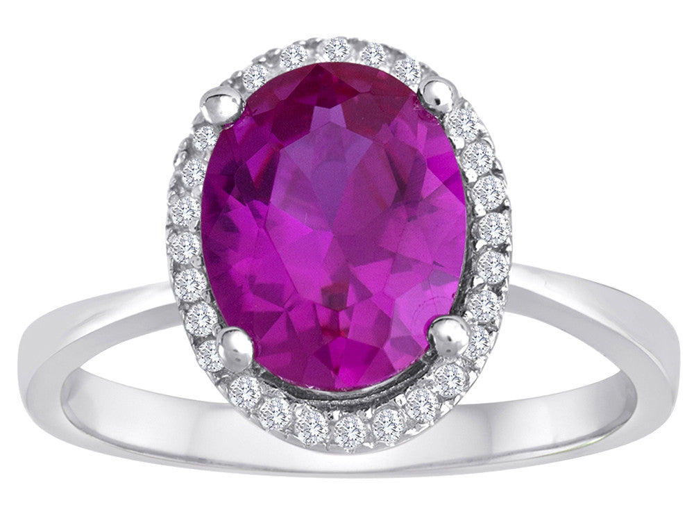 Star K Oval Created Pink Sapphire Halo Ring