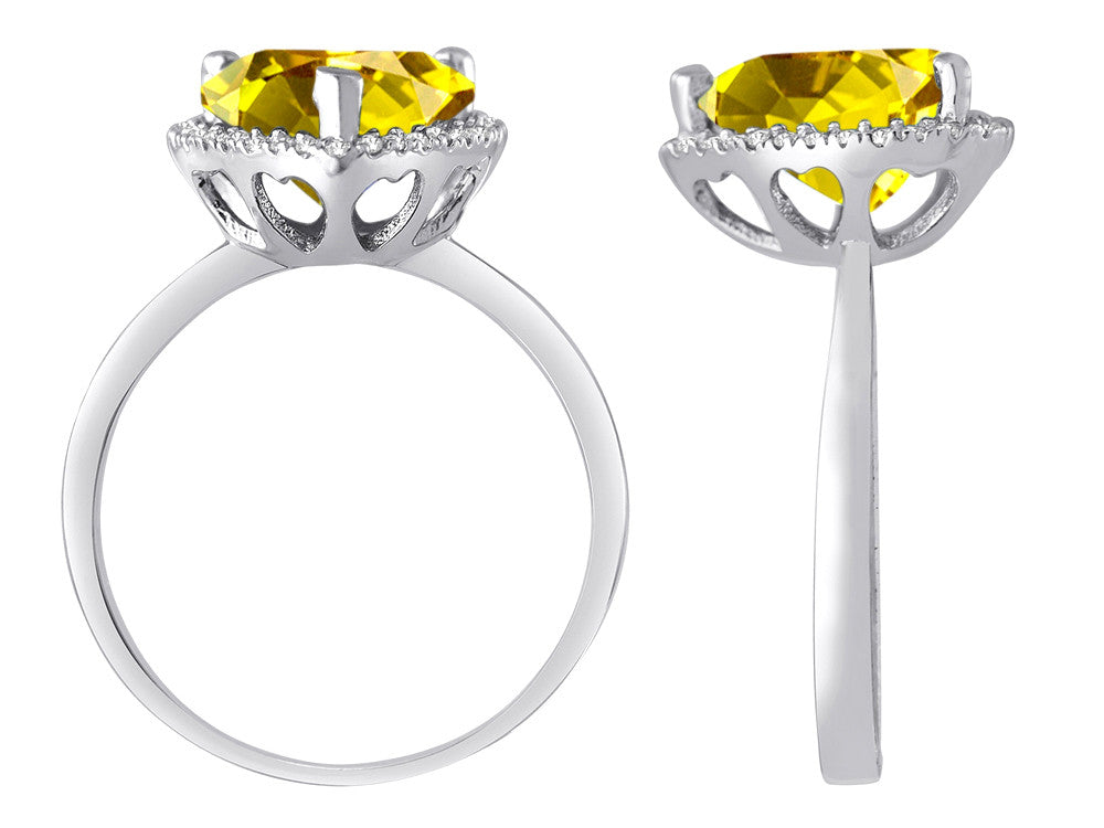 Star K Heart Shape Simulated Citrine Halo Ring