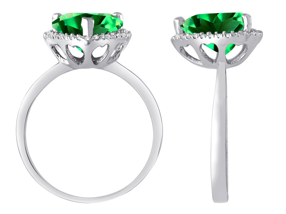 Star K Heart Shape Simulated Emerald Halo Ring