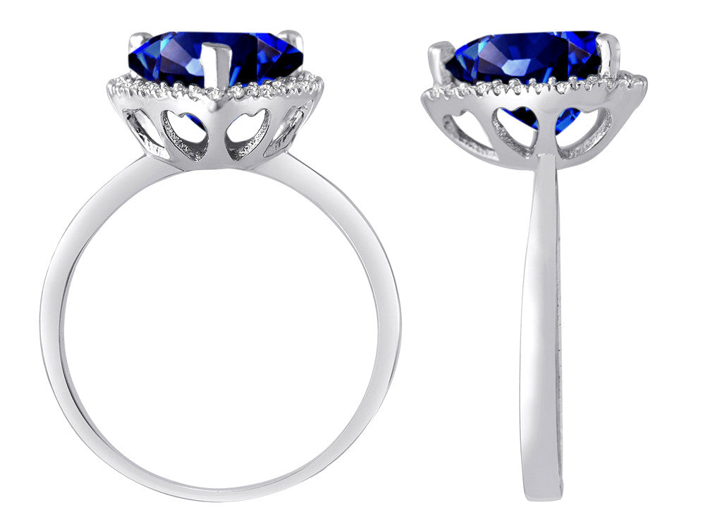 Star K Heart Shape Simulated Sapphire Halo Ring