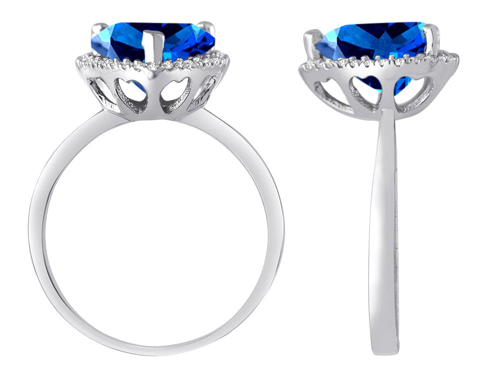 Star K Heart Shape Simulated Blue Topaz Halo Ring