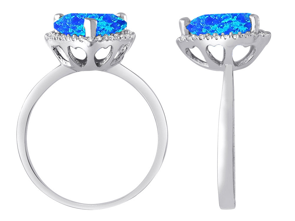 Star K Heart Shape Simulated Blue Opal Halo Ring