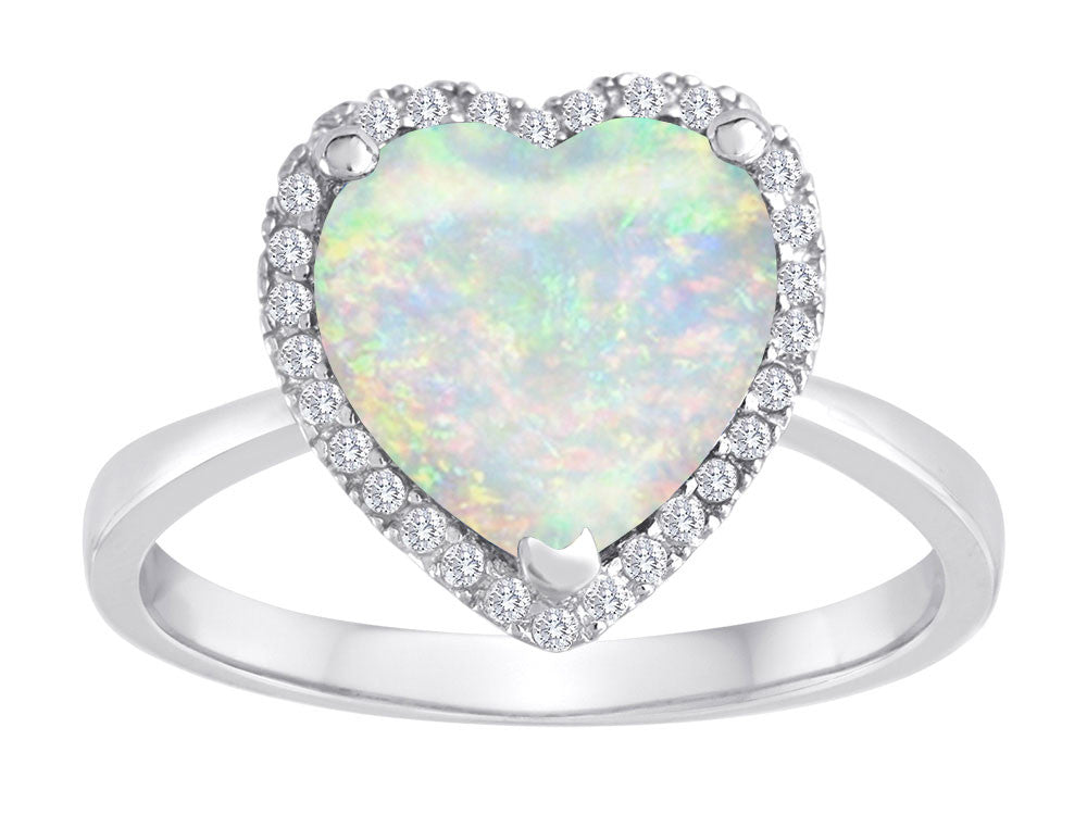 Star K Heart Shape Simulated Opal Halo Ring