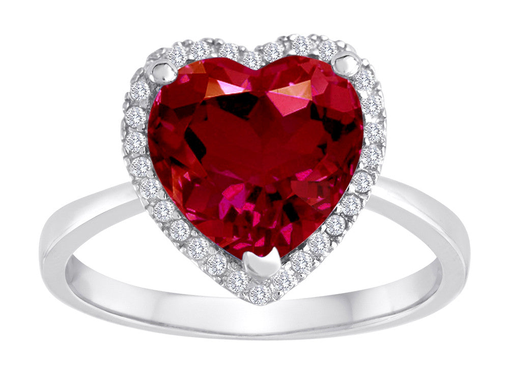 Star K Heart Shape Created Ruby Halo Ring