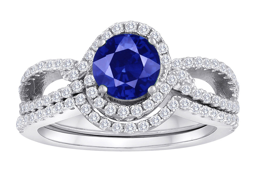 Star K Round Created Sapphire Halo Wedding Set