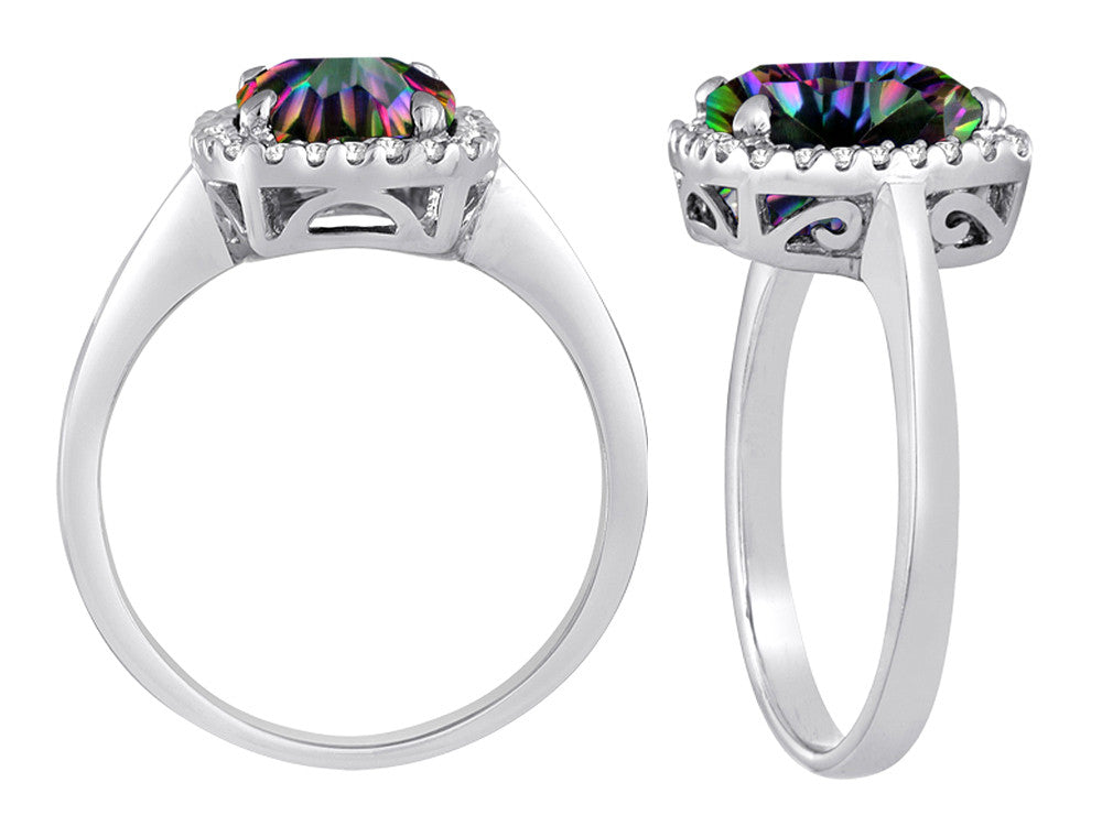 Star K Cushion Cut Rainbow Mystic Topaz Halo Ring