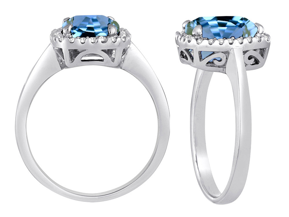 Star K Cushion Cut Simulated Aquamarine Halo Ring